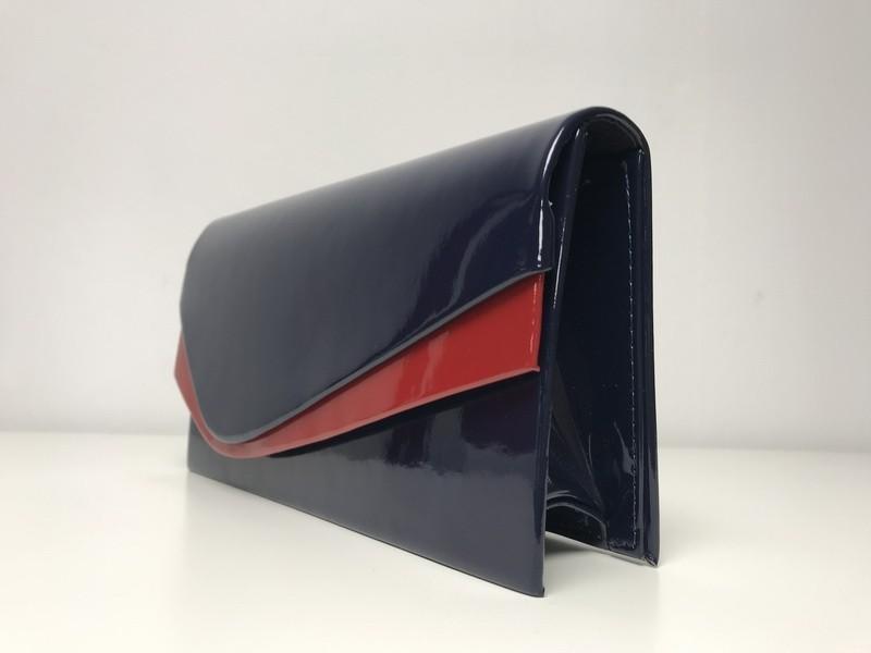 Granatowo-czerwona kopertówka
